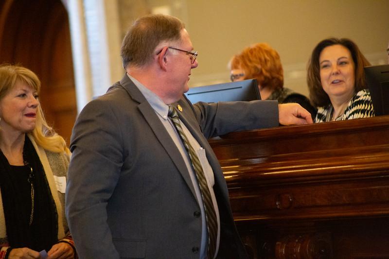 Rep. Dan Hawkins casts a leadership election ballot