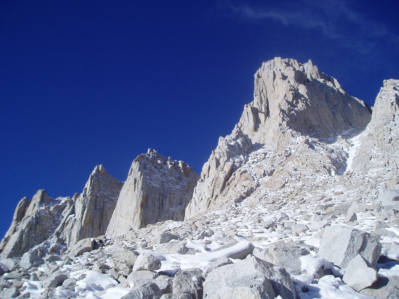Needles and Mount Whitney. Mountaineer's Route couloir on the right.