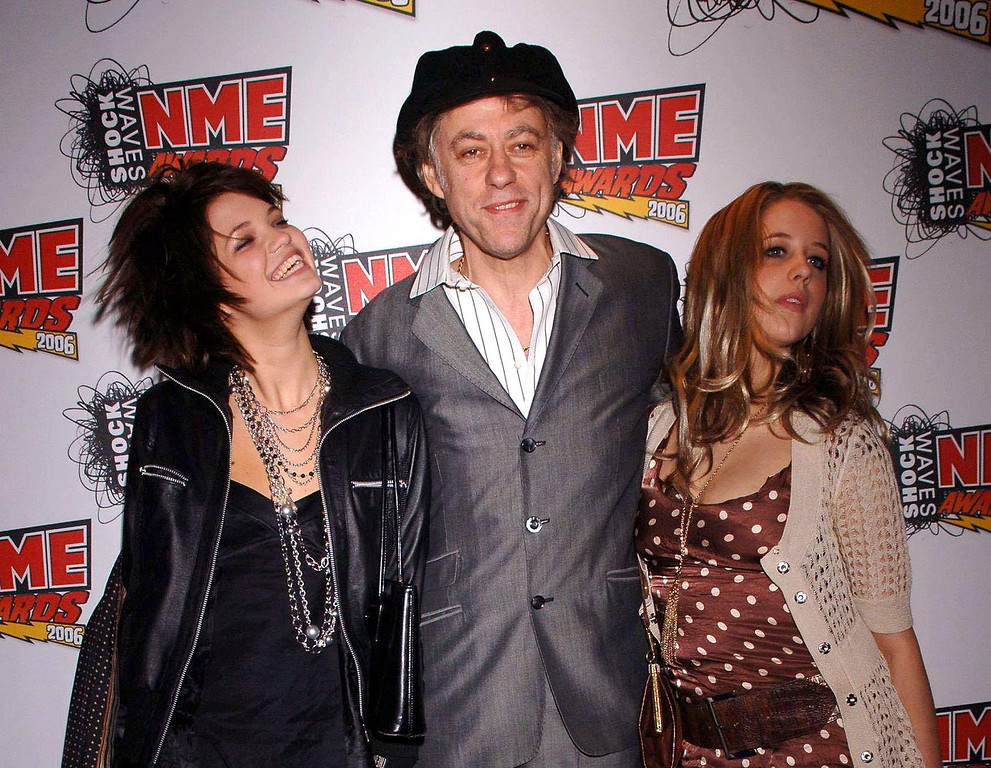 . In this Feb. 23, 2006 file photo Bob Geldof is seen with his daughters Pixie, left, and Peaches at the NME Awards 2006 in London.  (AP Photo/PA, Yui Mok)