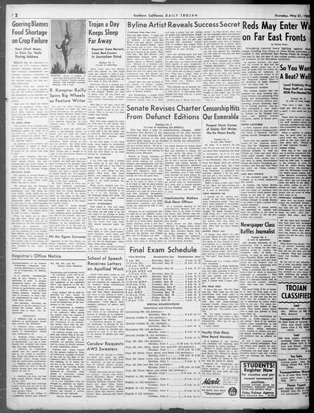 Daily Trojan, Vol. 33, No. 147, May 21, 1942