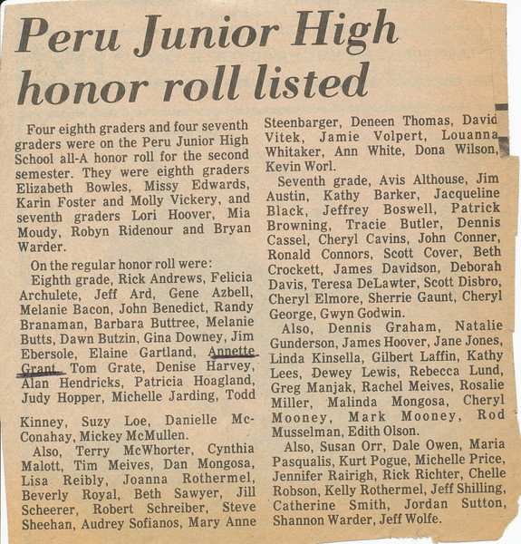 Newspaper (Annette makes honor roll).jpg