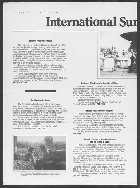 Daily Trojan, Vol. 95, No. 44, March 13, 1984