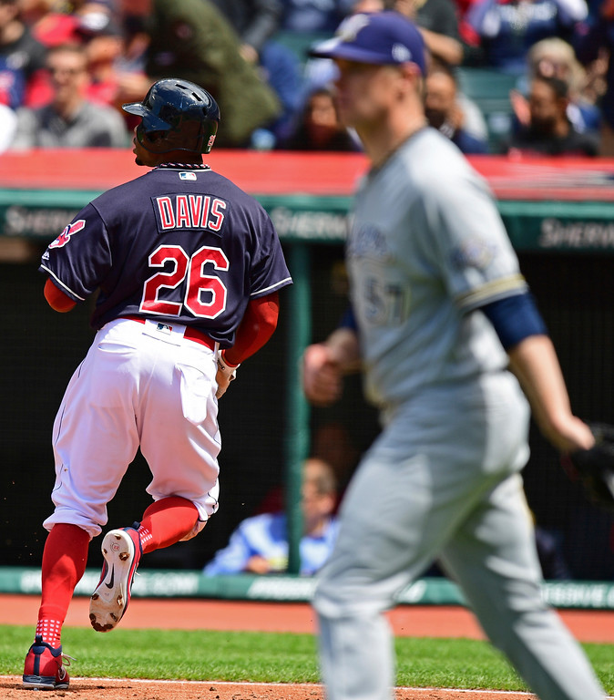 . Cleveland Indians\' Rajai Davis scores on a single by Michael Brantley in the fifth inning of a baseball game against the Milwaukee Brewers, Wednesday, June 6, 2018, in Cleveland. (AP Photo/David Dermer)