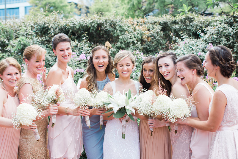 Blush wedding party at Whitney's 1840s Plaza wedding. For more information, see http://www.jalapenophotography.com