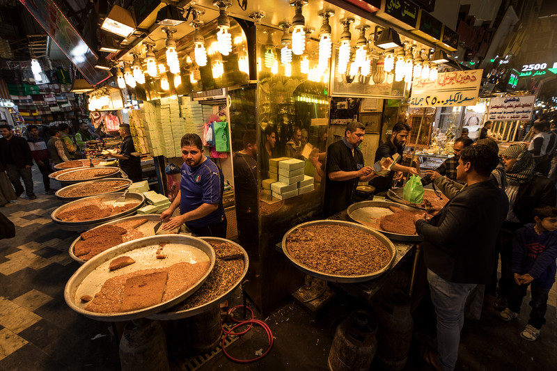Sweet basbousa for sale in Najaf souq.