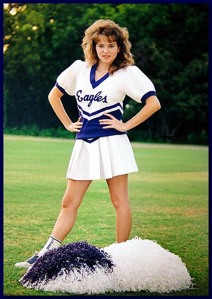 Model in cheerleading outfit, 1986