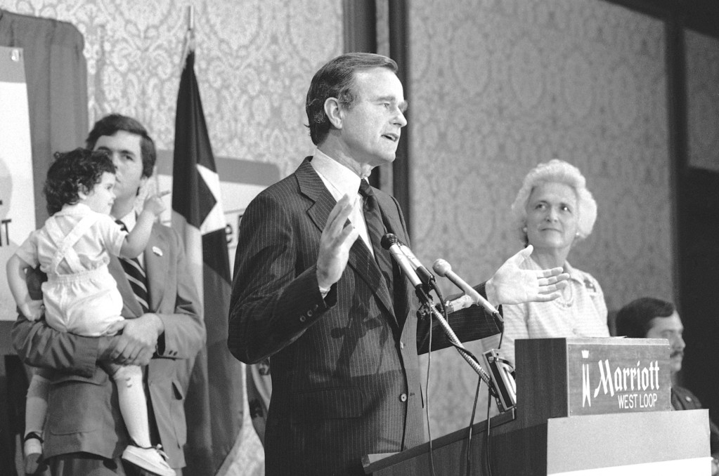 . George Bush who has campaigned for the Republican Presidential nomination for the past two years, announced Monday, May, 26, 1980, at a news conference in Houston that he was dropping from the race with Ronald Reagan. (AP Photo/Ed Kolenovsky)