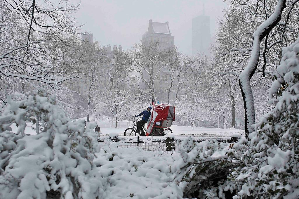 . A bike taxi takes passengers for a tour of Central Park in the snow in New York March 8, 2013. REUTERS/Shannon Stapleton