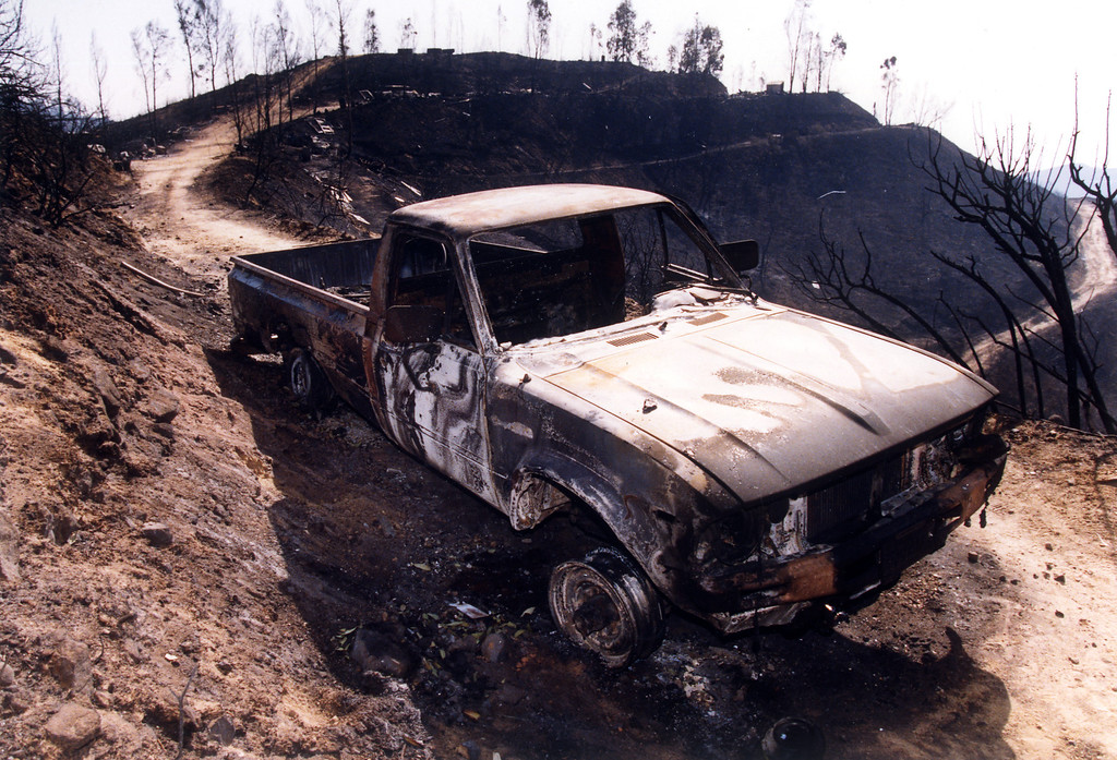 . The skeleton of a Toyota truck was found near the bodies of Donn and Amy Yarrow, who died in the fire on their isolated Malibu property.   (11/5/93) Los Angeles Daily News