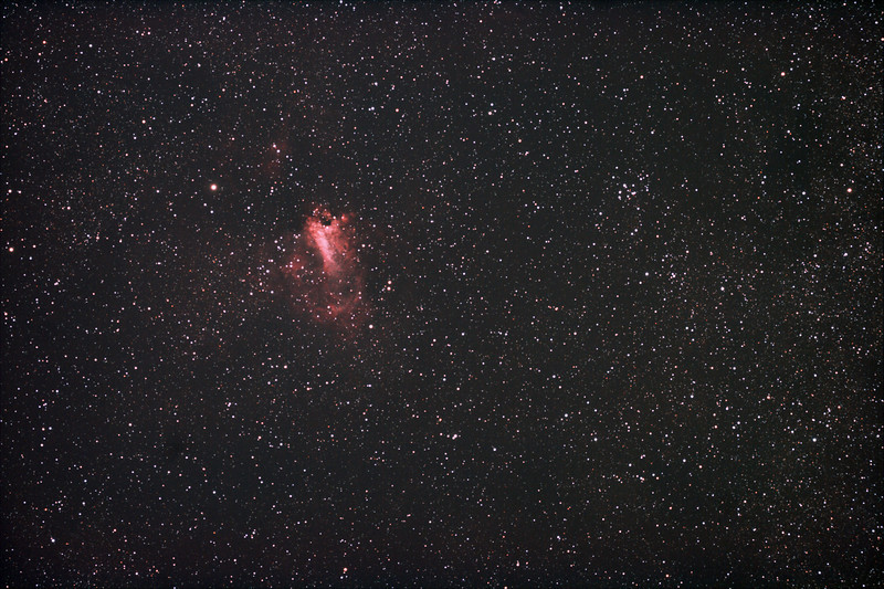 Messier M17 - NGC6618 - Eagle or Swan Nebula, M18 - NGC6613 Open Cluster - 9/5/2011 (Processed stack)  DeepSkyStacker 3.3.2 Stacked 75% of 40 Images ISO 800 120Sec, 32 DARK, 0 BIAS, 0 FLATS, post processed by Adobe Photoshop CS5  Telescope - Apogee OrthoStar LOMO 80/480 with Hotech SCA Field Flattener, Hutech IDAS LPS-P2 filter, Canon 400D DSLR, Ambient 19C. Mount - Skywatcher NEQ6 Pro. Guidescope - Orion ShortTube 80 with Star Shoot Auto Guider.