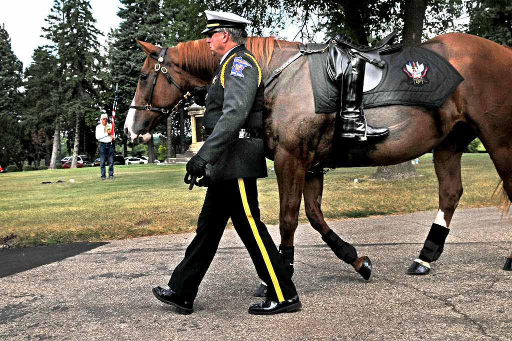 . A riderless horse enters Acacia Park Cemetery, part of the funeral processsion for officer Scott Patrick.  (Pioneer Press: Jean Pieri)