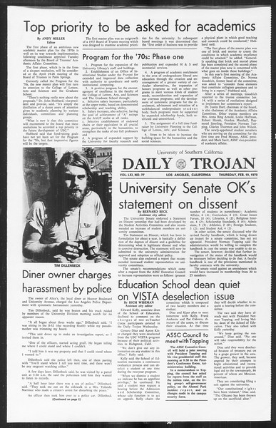 Daily Trojan, Vol. 61, No. 77, February 19, 1970