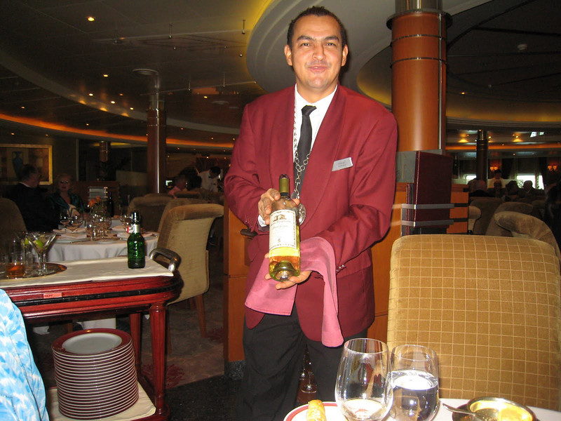 Wilson the Sommelier with my Pinot Griggio