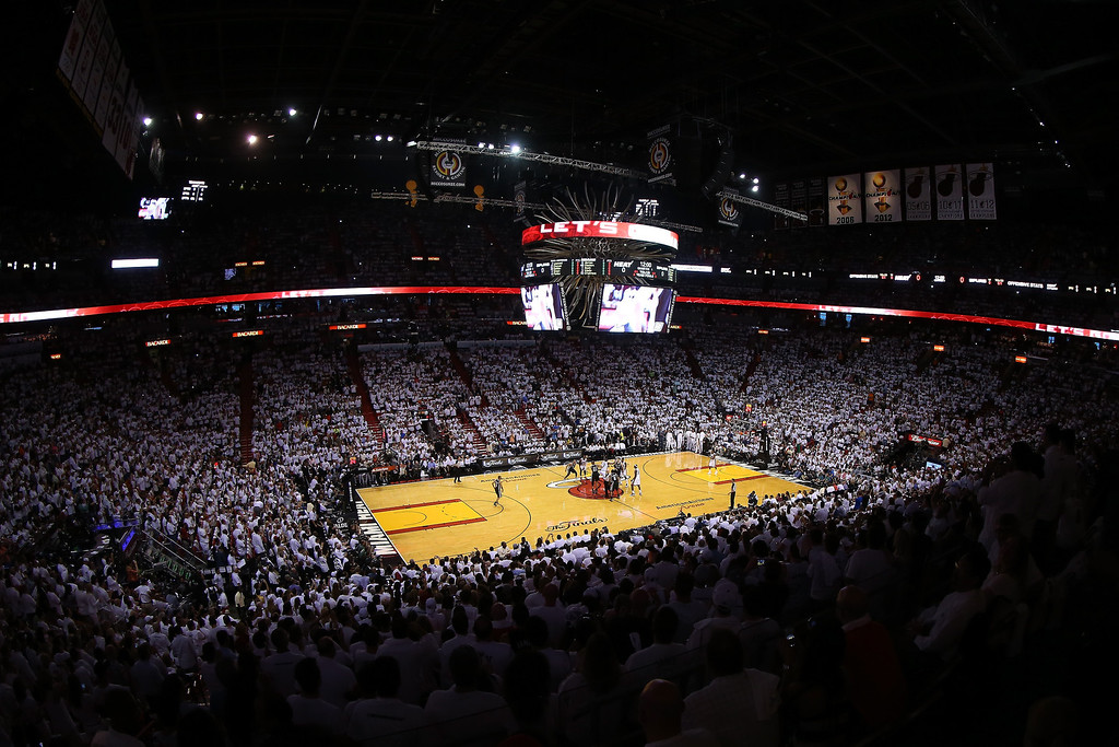 . A general view during Game Two of the 2013 NBA Finals between the San Antonio Spurs and the Miami Heat at AmericanAirlines Arena on June 9, 2013 in Miami, Florida.   (Photo by Mike Ehrmann/Getty Images)