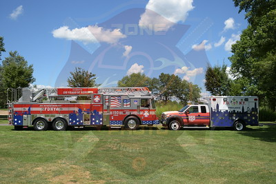 FDNY 150th Anniversary Ladder and Ambulance at 2015 Levittown F.D. Golf Outing 8/13/15