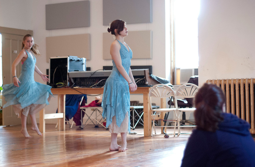 . Kayla Rice/Reformer                                 Dancers (from left) Sequoyah Stevens-Mills, 13, and Kestrel Osman, 15, from IBIT (Intrinsic Beauty of Invisible Things) rehearse at their Elliot St. studio in Brattleboro on Tuesday afternoon.