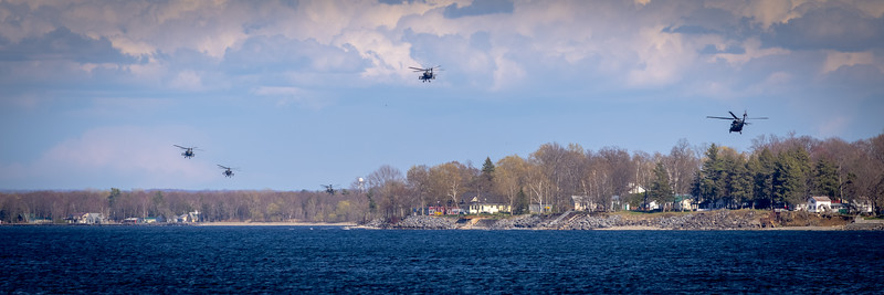 Helicopters flying in formation over Lake Ontario