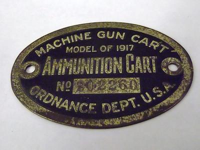 MODEL OF 1917 MACHINE GUN CART #20260 Data plate only