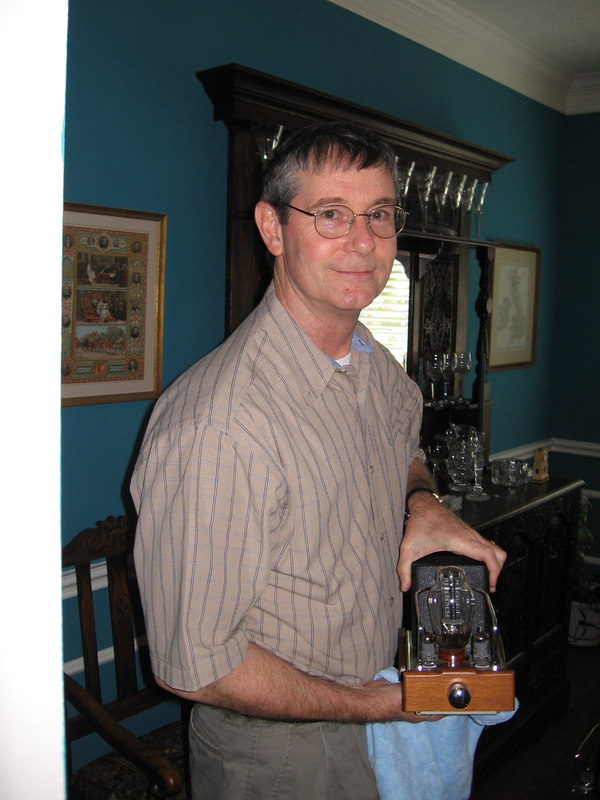 Wayne polishing one of his little monoblocks