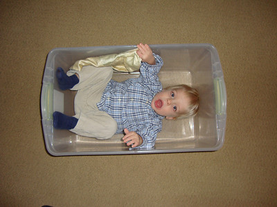 Paul's Birthday and Caeden in a Box