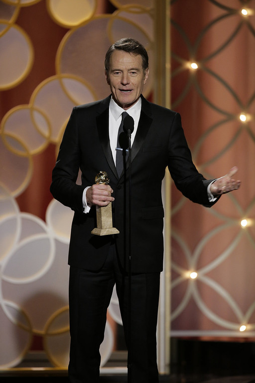 """. In this handout photo provided by NBCUniversal, Bryan Cranston accepts the award for Best Actor in a TV Series, Drama for \""""Breaking Bad\""""  during the 71st Annual Golden Globe Award at The Beverly Hilton Hotel on January 12, 2014 in Beverly Hills, California.  (Photo by Paul Drinkwater/NBCUniversal via Getty Images)"""