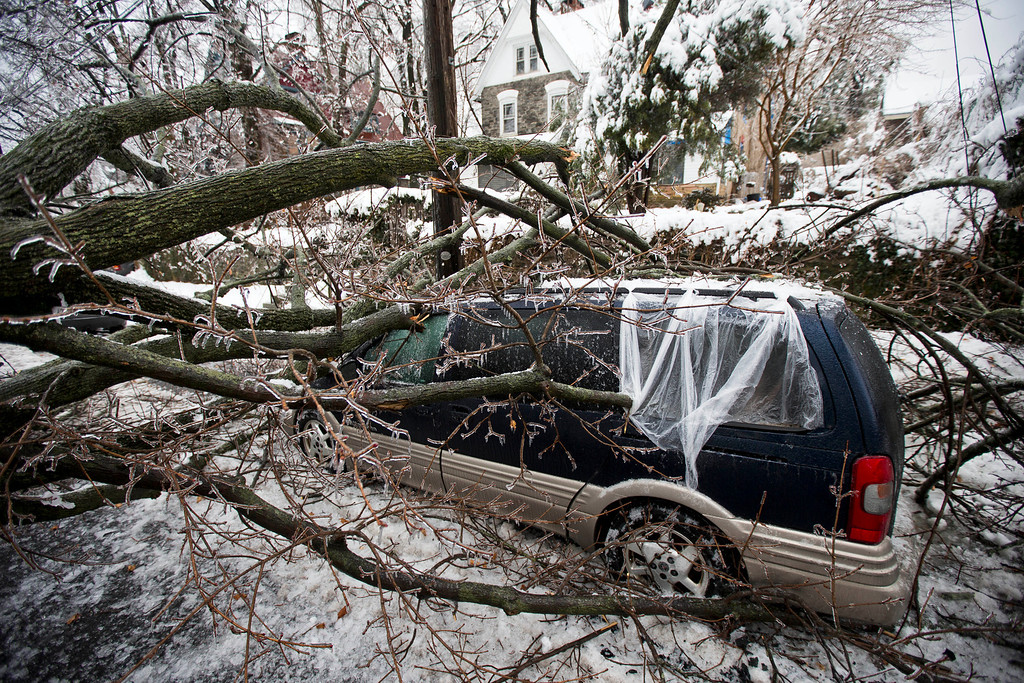 . A downed tree covered in ice lays atop a minivan after a winter storm Wednesday, Feb. 5, 2014, in Philadelphia.  (AP Photo/Matt Rourke)