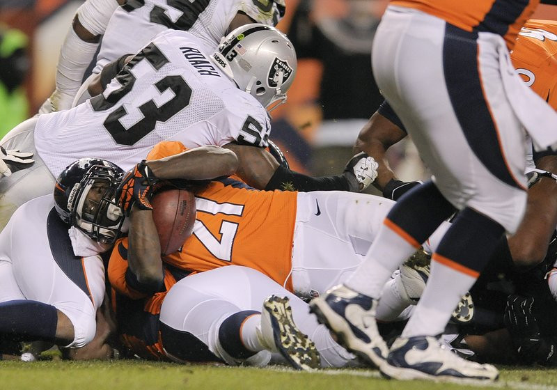 . <p><b> Eagles at Broncos (-10½):</b>  <p>Denver�s running backs reportedly played Rock Paper Scissors to determine who would get to do what near the end of Monday night�s game. Ronnie Hillman won the right to score the last touchdown, and Montee Ball got to make the last dumbass fumble. <p>Pick: <b>Broncos by 14</b> <p>    (AP Photo/Jack Dempsey)