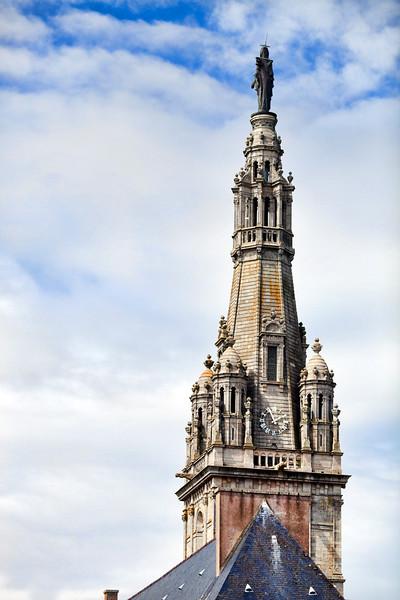 Spire of Sainte Anne Basilica, town of Sainte Anne d'Auray, departement of Morbihan, Brittany, France