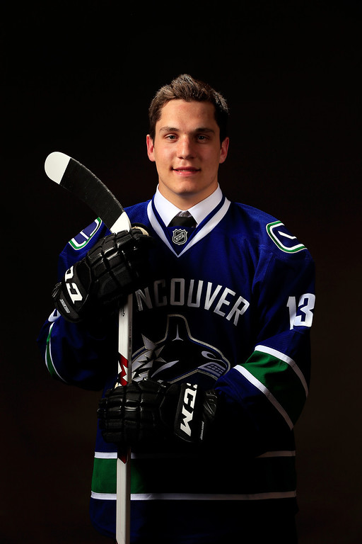 . Bo Horvat poses for a portrait after being selected number nine overall in the first round by the Vancouver Canucks during the 2013 NHL Draft at the Prudential Center on June 30, 2013 in Newark, New Jersey.  (Photo by Jamie Squire/Getty Images)