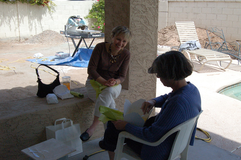 Deborah came by to inspect the progress of the work. We're actually sitting on the new patio and having lunch.