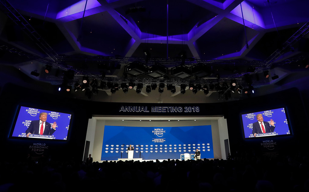 . U.S. President Donald Trump delivers a speech during the annual meeting of the World Economic Forum in Davos, Switzerland, Friday, Jan. 26, 2018. (AP Photo/Markus Schreiber)