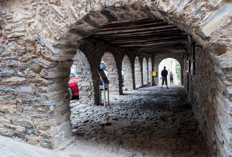 Arcade, Plaza Mayor (Main Square), Yanguas, Soria, Spain
