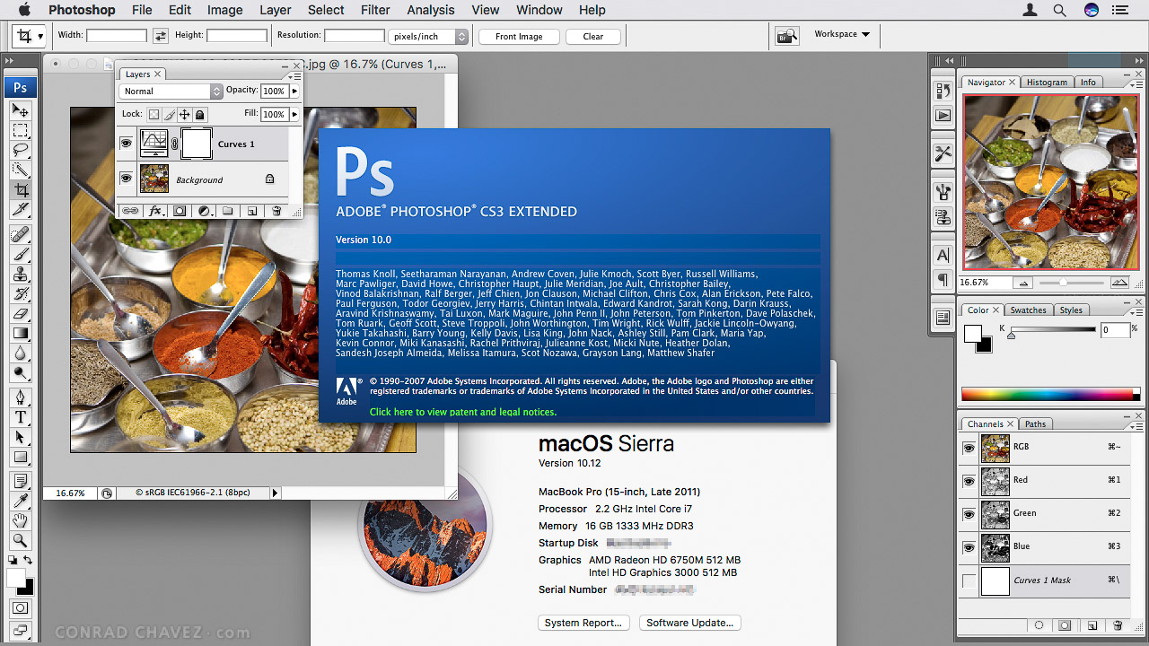 Photoshop CS3 working in macOS 10.12 Sierra.
