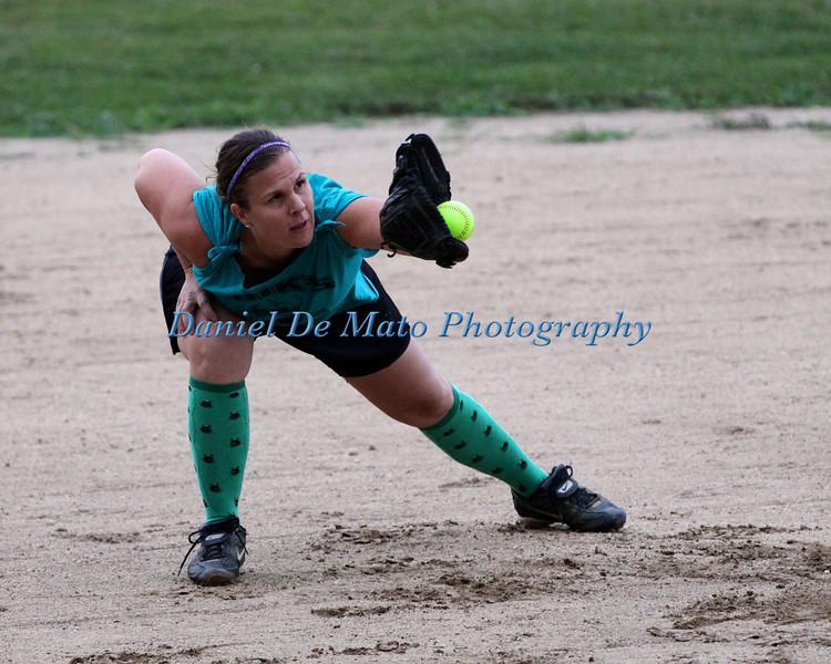 Greenport Women's Softball League Erik's Lawn Service Vs Aerial Fitness 7-19-12