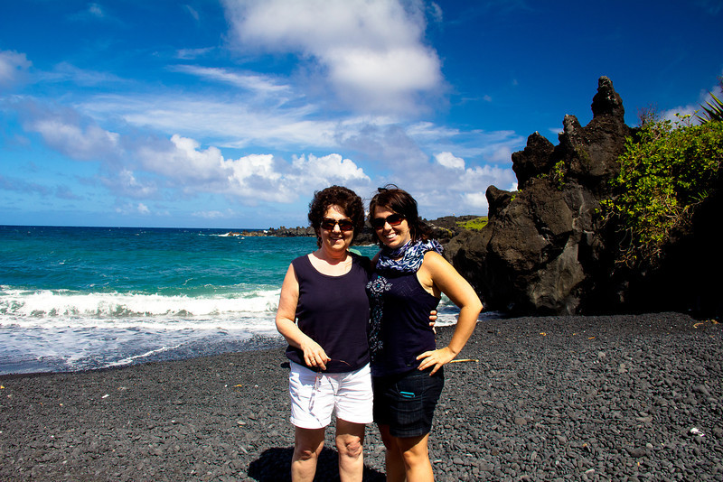 road to hana black sand beach me and mom.jpg