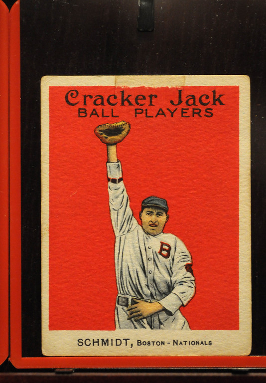 ". Baseball cards were in Cracker Jacks boxes during 1914 and 1915 and are included in the ""Baseball!\"" exhibit.The Exhibition opens April 4, 2014 at the Ronald Reagan Presidential Library and Museum.  Running through September 4, 2014, Baseball is a 12,000 square foot exhibition featuring over 700 artifacts, including some of the rarest, historic and iconic baseball memorabilia.  (Photo by Dean Musgrove/Staff Photographer)"