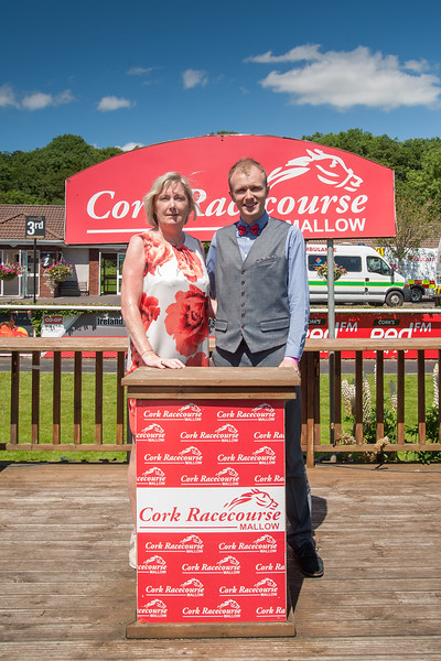 18th June 2017; Pictured is Mary Kelly, Sales & Marketing Manager, Cork Racecourse Mallow with Gavin Farmer from Mallow enjoying the sun at Cork Racecourse Mallow while escorting the Cork Rose Finalists 2017. Gavin is sponsored by Cork Racecourse Mallow in the Rose of Tralee 2017. Photo by Sean Jefferies Photography.