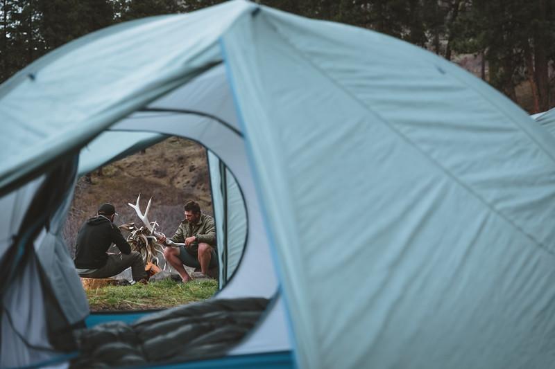 Sam Averett (samaverett) and Casey Barton (_caseybarton_) back at camp after shed hunting in Oregon.