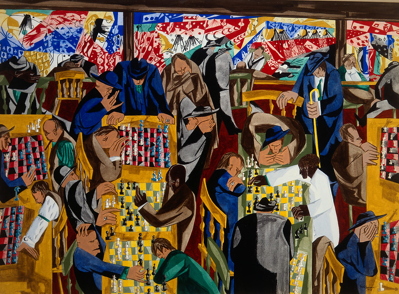 "Jacob Lawrence, ""Chess on Broadway"" (1951)"