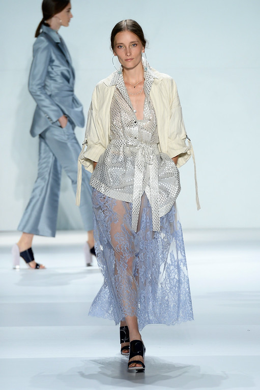 . A model walks the runway at the Zimmermann fashion show during Mercedes-Benz Fashion Week Spring 2015 at The Pavilion at Lincoln Center on September 5, 2014 in New York City.  (Photo by Fernanda Calfat/Getty Images for Mercedes-Benz Fashion Week)