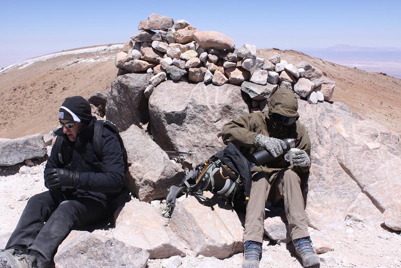 Gary and Alejandro freezing on summit at 18,500'