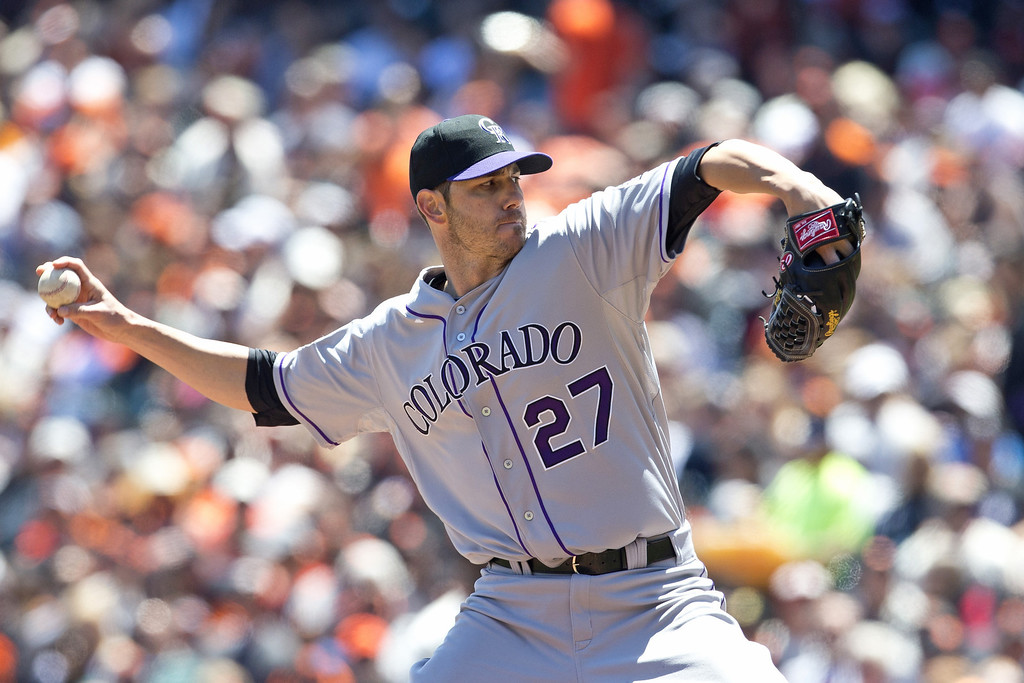 . Jon Garland #27 of the Colorado Rockies pitches against the San Francisco Giants during the first inning at AT&T Park on May 26, 2013 in San Francisco, California. (Photo by Jason O. Watson/Getty Images)