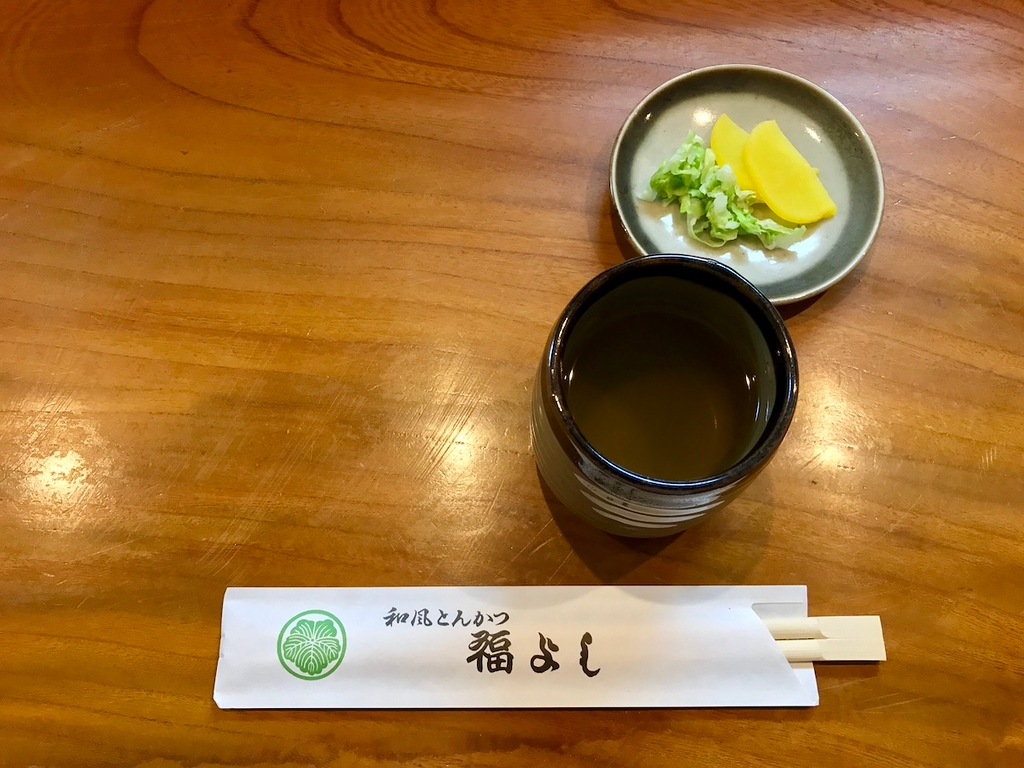 Miso soup and salted pickles (Napa cabbage and daikon radish).