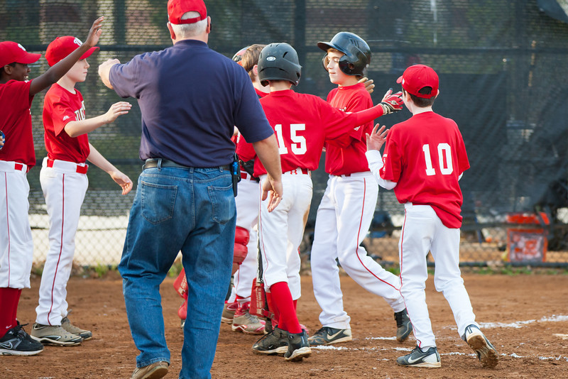 John hits a HOME RUN with Mac on 2nd base in the top of the 3rd inning. Nats lead 5-0. The Nationals almost blew a big lead, but managed to hold off the Brewers to win 9-7. They are now 3-2 for the season. 2012 Arlington Little League Baseball, Majors Division. Nationals vs Brewers (26 Apr 2012) (Image taken by Patrick R. Kane on 26 Apr 2012 with Canon EOS-1D Mark III at ISO 800, f2.8, 1/1000 sec and 160mm)