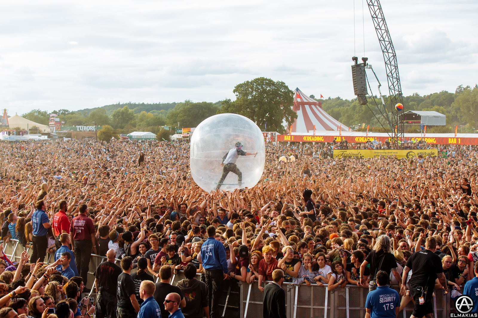 Jeremy McKinnon in his ball at Reading Festival
