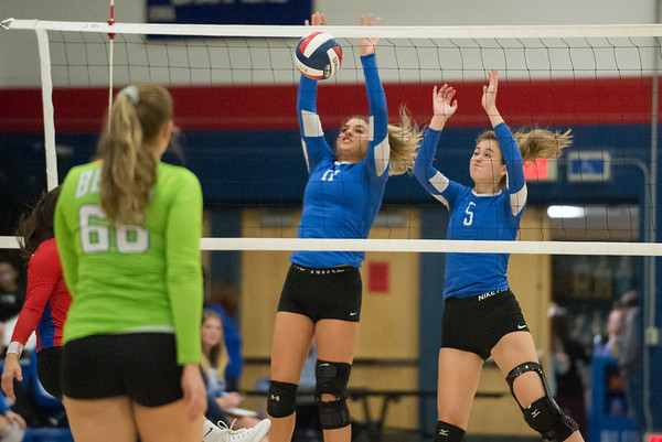 10/21/19 Wesley Bunnell | StaffrrPlainville High School girls volleyball vs visiting Berlin High on Monday night. Plainville's Katherine Tanguay (17) and Wiktoria Galazyn (5).