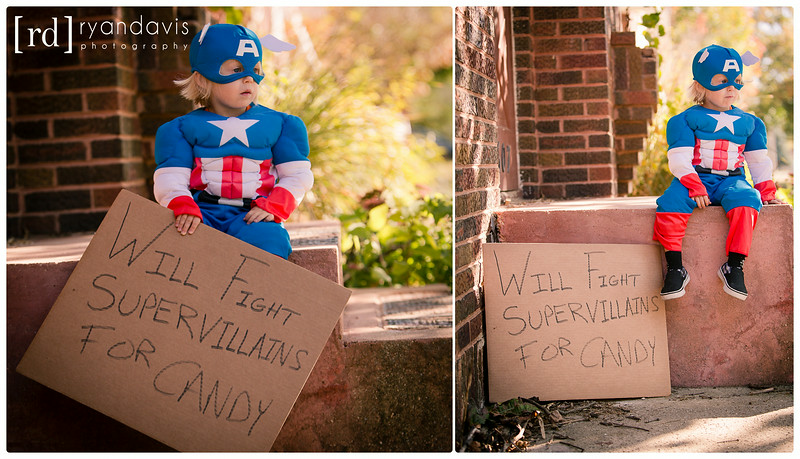 Toddler in a superhero Captain America costume. Portrait Photographer - Ryan Davis Photography, Rockford, IL.