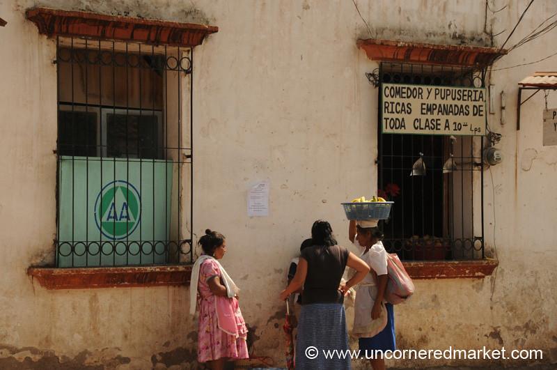 Women Chat Outside Copan Ruinas Market - Honduras