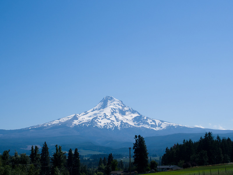 At the town of Hood River, we decided to make our way to Dufur, OR by heading south on state road 35 towards Mt Hood.  This road was lovely and had very little tourist traffic with many vineyards and orchards.  We then then took a Forestry Service road east towards the little town of Dufur.