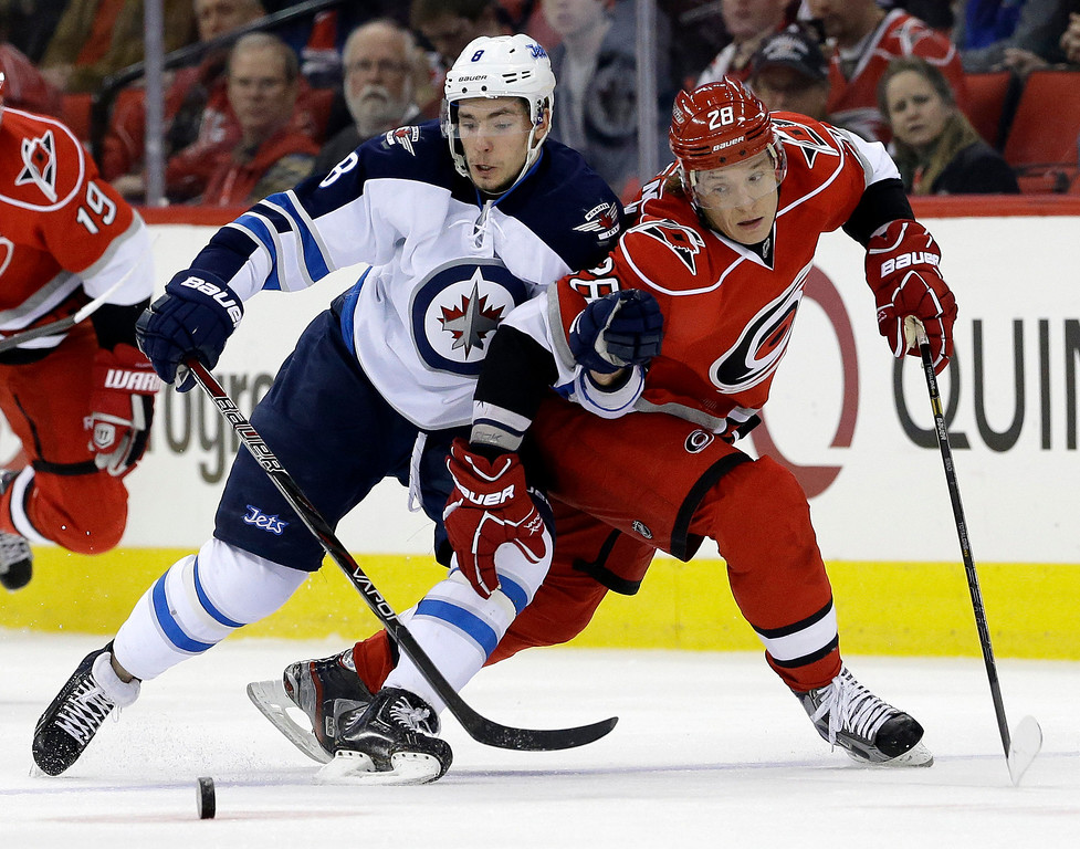 . Carolina Hurricanes\' Alexander Semin (28) and Winnipeg Jets\' Alex Burmistrov (8), both of Russia, struggle for possession of the puck during the first period of an NHL hockey game in Raleigh, N.C., Thursday, Feb. 21, 2013. (AP Photo/Gerry Broome)